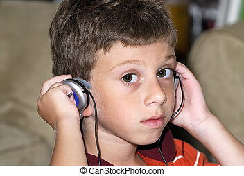 Headphones - Young Boy Wearing Headphones