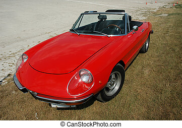 Red Alfa Romeo convertible sports car