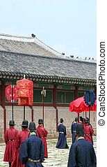 Traditional South Korean ceremony at Gyeongbokgung Palace,...