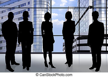 Business team - silhouette of businesspeople