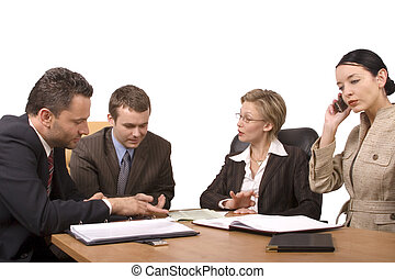 business meeting - Group of business people, two women two...