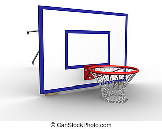 Basket Hoop Ground - 3d image of a basketball hoop with net...