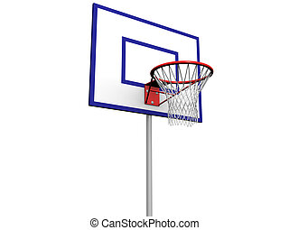 Basketball Pole - 3d image of a basketball hoop with net on...