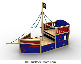 Bounty - 3d image of a toy pirate boat for children to play...
