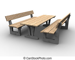 3d Garden Furniture - 3d image of garden furniture, wood and...