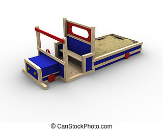 Play Truck - 3d image of a playing truck with a sandbox