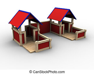 Playhouse Village - 3d image of playhouses for children.