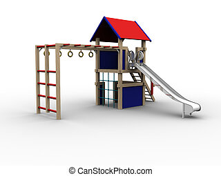 Playhouse 02 - 3d image of a playhouse for children. To be...