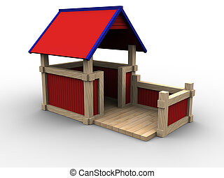 Playhouse 05 - 3d image of a playhouse for children