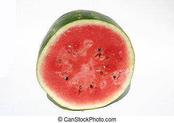 watermelon half - A watermelon half on a white background.