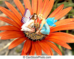 Fairy World 12 - Two fairies in an ornage flower