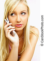 Talking cell phone - Young business woman talking by phone