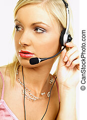 CCA - Business Woman with Headset working as call center...