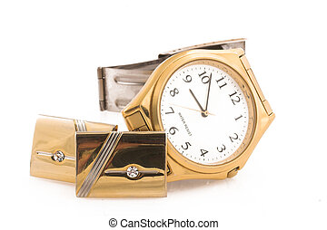 Mens jewelry - Gold watch and gold cufflinks