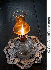 Flame of an ancient oil lamp in the night