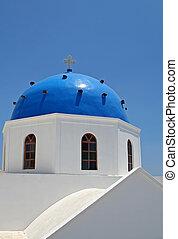 Blue Church - Blue dome church at Santorini Island, Greece