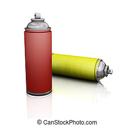 Spray cans - 3D render of spray cans