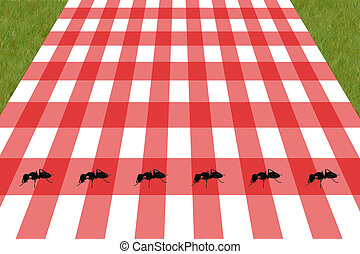 picnic - an illustration of a picnic table with ants