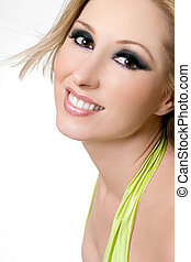 Smiling Female with dramatic eyes - Smiling female with...