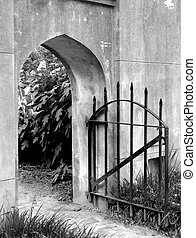 Iron gate - Stone wall and iron gate