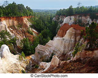Providence Canyon, Georgia Canyon formed by erosion caused...