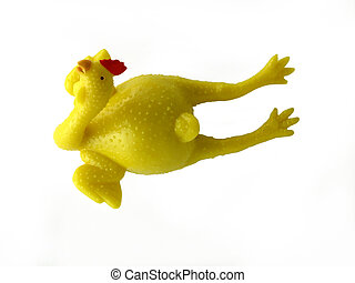 Rubber chicken isolated on white