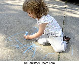 Sidewalk chalk - Pre-school age child drawing on sidewalk...