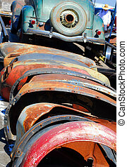 Fenders - old car fenders at swap meet