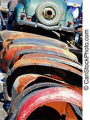Fenders - old car fenders at swap meet