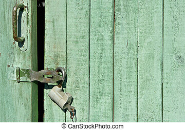 Closed door background - Closed green door background
