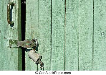 Closed door background - Closed green door background