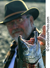Silver Salmon - Fisherman holds up magnificent silver salmon...