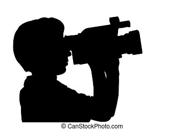 silhouette man with videocamera - man with videocamera...