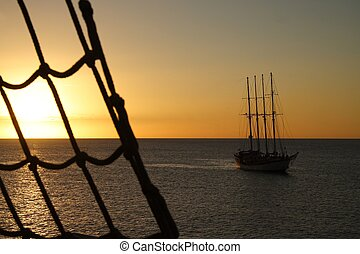 Maritime Sunset - Mystic clipper at sunset with a ladder