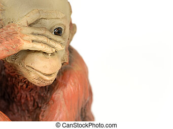 Chimp - Photo of a Chimpanzee Clay Sculpture