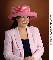 Pink Hat - Attractive Young Woman Wearing A Formal Pink Hat