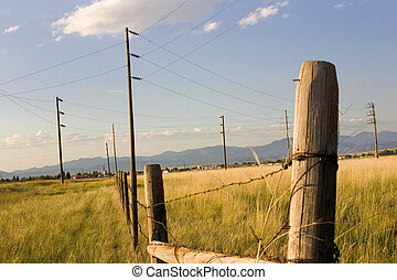 Fence in the Field with Blue Background