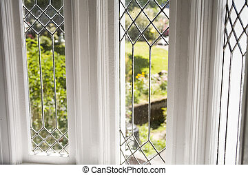 Stock Photo of a Beautiful Lead Glass Window - Photo of a...