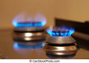 Gas stove burning - look in profile for more