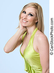 Female radiant smile - Female with blonde hair and lovely...