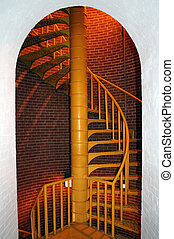 Spiral Staircase - Spiral staircase inside lighthouse framed...