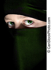 Green Eyes - green eyed girl in traditional muslim dress