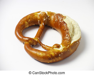Salted pretzel - Salted bavarian pretzel isolated