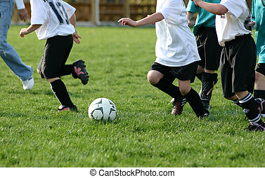 Soccer Team - Female soccer players following soccer ball