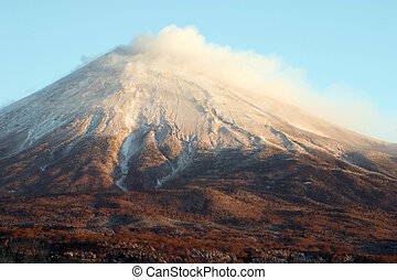 Mount Fuji - The South face of snow-capped Mount Fuji in...
