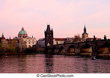 Pink Prague - Sunset over Charles bridge, Prague, Czech...