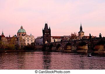 Pink Prague - Sunset over Charles bridge, Prague, Czech...