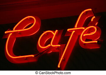 Cafe Sign - lit neon cafe sign