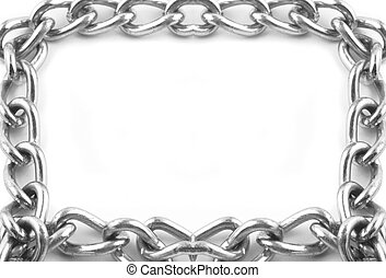 chain links frame - silver metal chain border or frame
