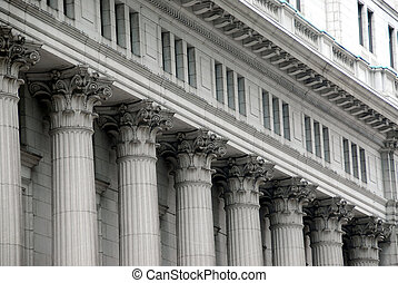 Building with columns in downtown Montreal, Canada
